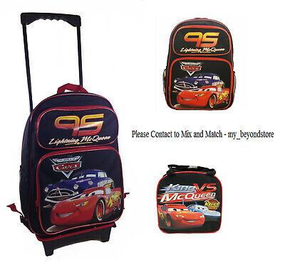 Disney Pixar Cars McQueen Large School Black Rolling Backpack Lunch Bag Bottle