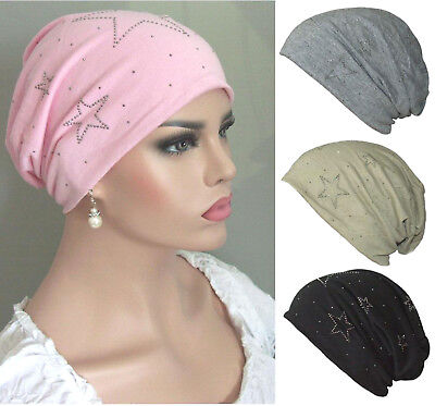 Damen Mütze (BEANIE MÜTZE Damen Longbeanie Slouch Chemo Studs Cap Weich STRASS STERNE)