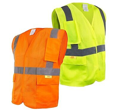 Class 2 High Visibility Safety Vest With Reflective Strips And Pockets -m851112