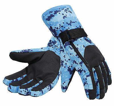 Mens Winter Camouflage Waterproof Windproof Thinsulate Ski Gloves