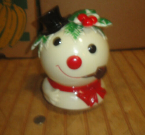 Vintage 1973 Hard Plastic Frosty The Snowman Christmas Bust Music Wind Up as is