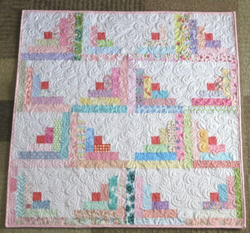 New Baby Girl Log Cabin Patchwork Handmade Quilt ~ Shower Gift