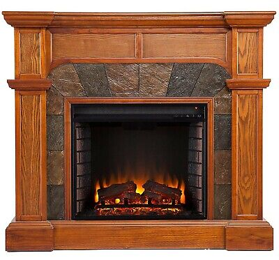 Bashard Electric Fireplace Heater Media Console TV` Stand Corner or Wall Corner Indoor Fireplace