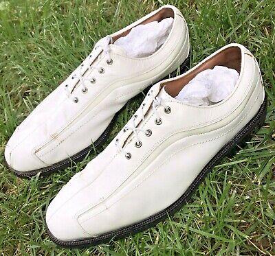 $299 Footjoy FJ Men 12 M ICON 52315 Stingray Leather White Waterproof Golf Shoes