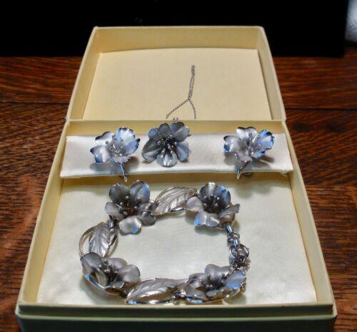 Vintage HSB Sterling Flower Parure with original box