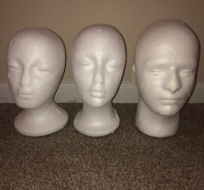 Lot Of 3 Foam Head Display Glasses Wig Hat Mask Etc Heads