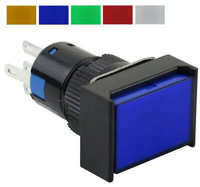 16mm Rectangular 5-pin Push Button Blue Green Red White Yellow 12 24 48 110 220v