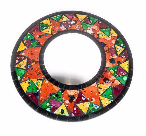 """Mosaic Mirror Garden Hanging Orange Black Round 12"""" D Bali"""