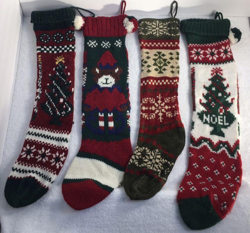 set of 4 handmade Christmas Stockings noel snowflakes green red