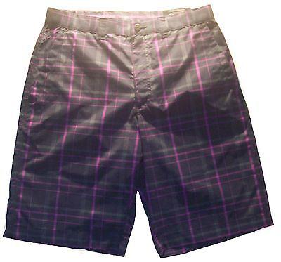 Mens Boys Callaway Golf Madras Plaid Golf Shorts Chinos Peacoat Plaid Size 30