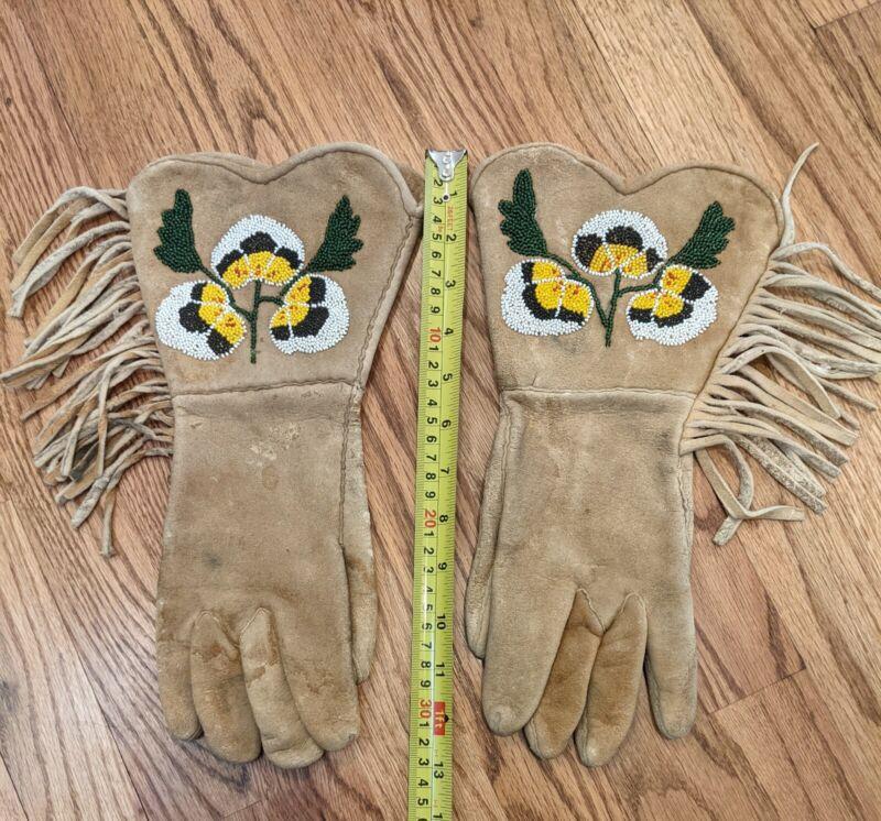 Native American Plateau Beaded Gauntlet Gloves circa 1930-40