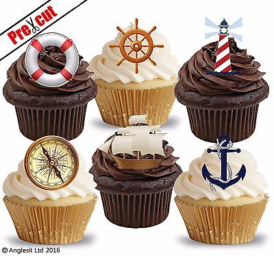 PRE-CUT NAUTICAL SHIP & ACCESSORIES EDIBLE WAFER CUP CAKE TOPPERS DECORATIONS - Nautical Cake Decorations