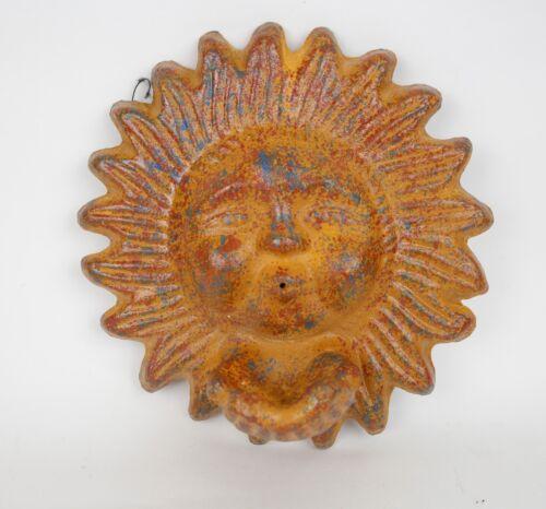 Clay Sun Bird Feeder-Mexican Folk Art-Garden-10 inch-Rustic Wall-Red