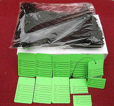 1000 Green Merchandise Perforated Price Tags 1000 5  Black Loop Locks