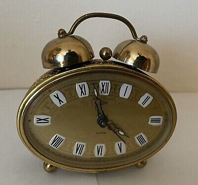WEST GERMANY ALARM CLOCK WIND UP WORKING PILOT BRASS RETRO VINTAGE