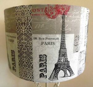 shabby chic lamp shade paris tour eiffel white grey postmark script free gift ebay. Black Bedroom Furniture Sets. Home Design Ideas