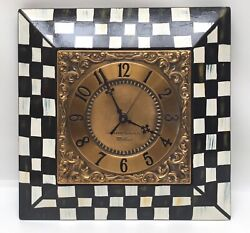 Whimsical Black White Checked Square Wall Clock Wood GE Vintage Hand Painted
