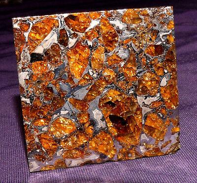 Meteorit Pallasit Brahin beidseitig geätzt, 41x41x2,2mm 17,7g mit Olivinen  陨石