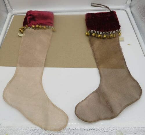 Set of 2 Wayne Kleski Christmas Stockings Katherines Collection Velvet Top Bells