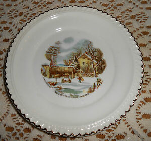 Details about harkerware currier amp ives winter scenes 2 dessert plates