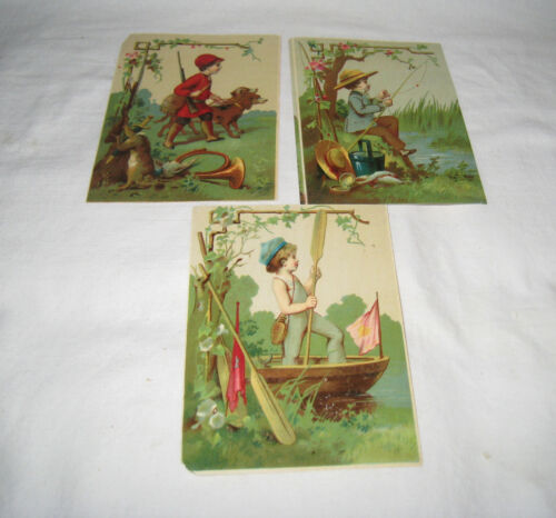 SET 3 19TH C. UNCOMMON SUPERIOR STOCK TRADE CARDS LITTLE BOY FISHING/HUNTING/SAI