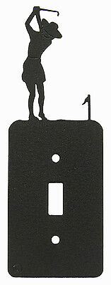 Girl Woman Golf Single Switch Plate Black
