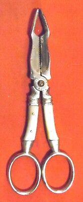 Zuckerzange Bonbonzange Zuckerschere mit Perlmuttgriff , 13 cm x 5 cm , ALT ,RAR