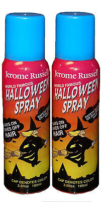 Jerome Russell Halloween Spray BLUE Temporary Hair Color TWO PACK  *Fast Ship* - Halloween Hair Spray