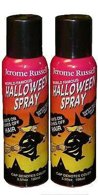 Jerome Russell Halloween Spray BLACK Temporary Hair Color TWO PACK  *Fast Ship* - Halloween Hair Spray