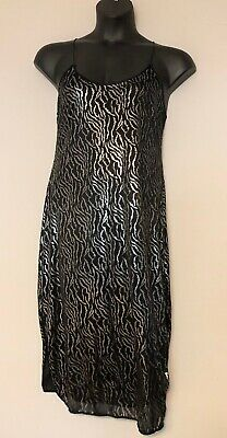 Vintage JOIE DE VIE Nightgown Black Silver Spaghetti Strap Large? Intimates Sexy