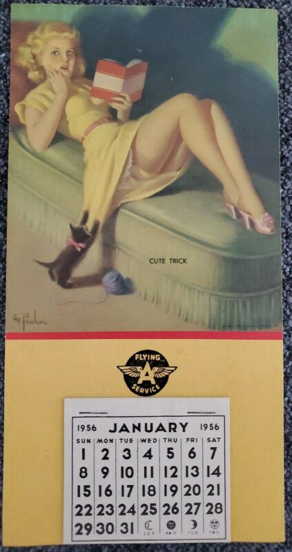"""Vintage 1956 FLYING A SERVICES Pin Up Girl Calendar Cute Trick """"Art Frohm""""  MINT"""
