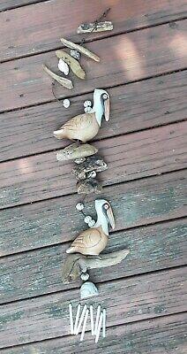 VTG Hazel Olsen Ceramic PELICAN Chimes Wind Catcher 1989 Birds Driftwood Shells