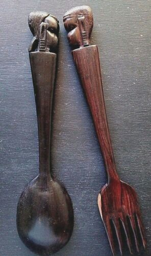 Decorative African Man and Woman Cutlery Hand Carved