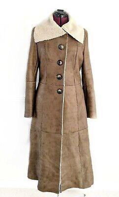 N.PEAL Luxury Womens - Tan slink Lambskin Leather Fut Coat Size UK 10 - 12 M