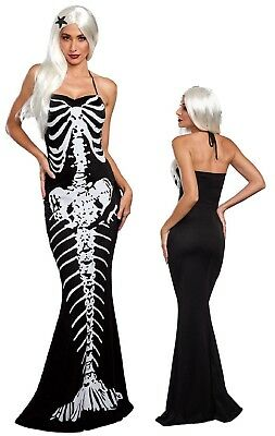 Day of the Dead Mermaid Skeleton Costume Dress Goth Little Mermaid Tail Maxi