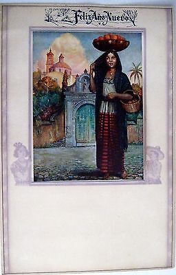 Vintage Sample Mexican Calendar w/ Beautiful Colored Print of Mexican Scene