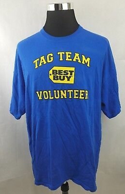 Best Buy Employee Company Logo Tag Team Volunteer Blue T Shirt Mens Size  Xxl