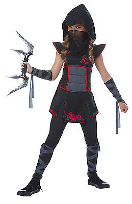 Mysterious Fearless Ninja Warrior Girls Child Costume Red Black
