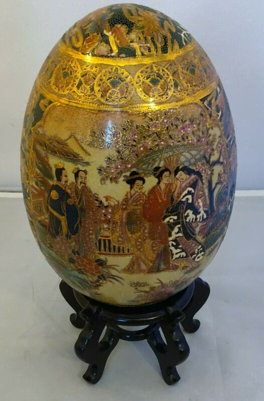 "RARE Ancient Hand Painted Royal Satsuma Elegant 14""Gold Porcelan Egg with Base"