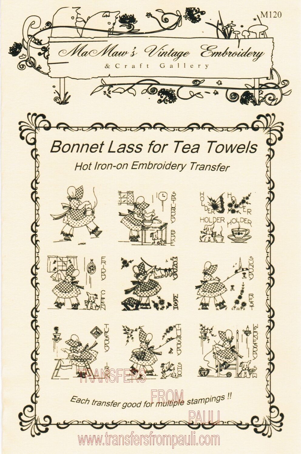 Details about Bonnet Lass DOW for Tea Towels Hot Iron Transfers by MaMaw's  Vintage Embroidery