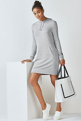 NWT Fabletics XS Yukon Mini Hoodie Sweater Dress Heather Gray sexy versatile $79