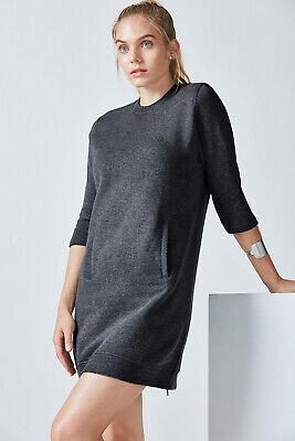 NWT Fabletics Heather Gray Elena Sweatshirt Pocket Zipper Athletic Dress XS B626