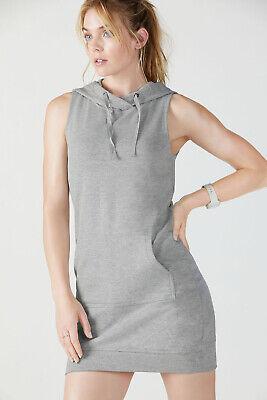 FABLETICS XS 6 8 Grey Sleeveless Sweatshirt Dress Hood Hoodie Cotton