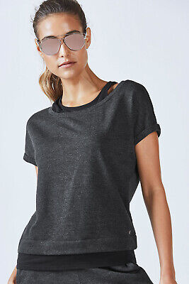 FABLETICS Womens Pullover Tasha Double Up XS Top Black Retails $60