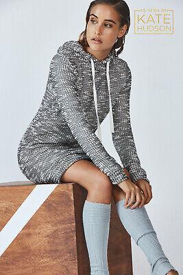 BNWT FABLETICS Yukon Sweater Dress S 10 Grey Black White Hooded Boucle