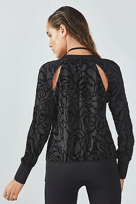 Fabletics Lola Longsleeve Pullover Lightweight Sweatshirt Activewear Black XS