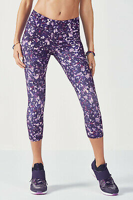 Fabletics Salar Capri Purple Print Leggings Size XS/2-4 RRP £57.00