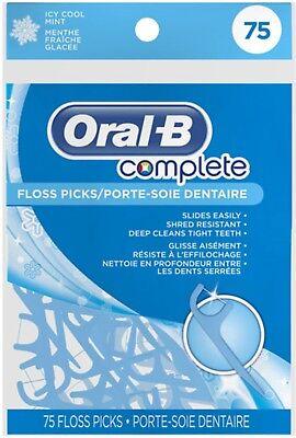 Oral-B Complete Floss Picks, Icy Mint, 75 (Floss Picks Mint)
