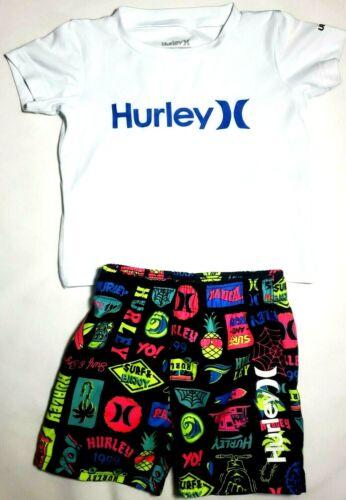Boys Hurley 12M 18M Toddler Swim Nike Dri-Fit Rash Guard Shirt Shorts Set Outfit