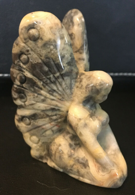 """Natural Crazy Lace Agate Butterfly Fairy Carving 2.35"""""""